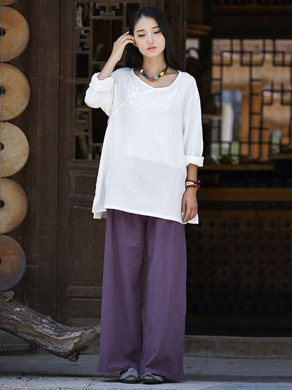 Casual National Style Cotton Pants - Zebrant
