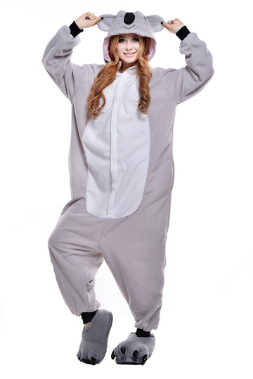 Adults' Kigurumi Pajamas Koala Onesie Pajamas Polar Fleece Gray Cosplay - Zebrant