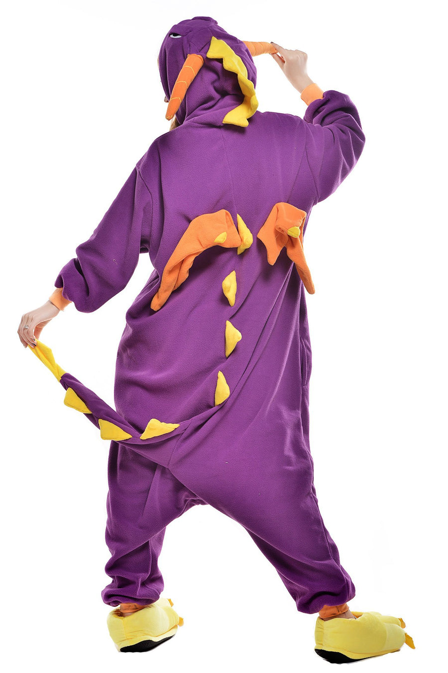 Kigurumi Pajamas Dragon Dinosaur Onesie Pajamas Coral fleece Purple Cosplay - Zebrant