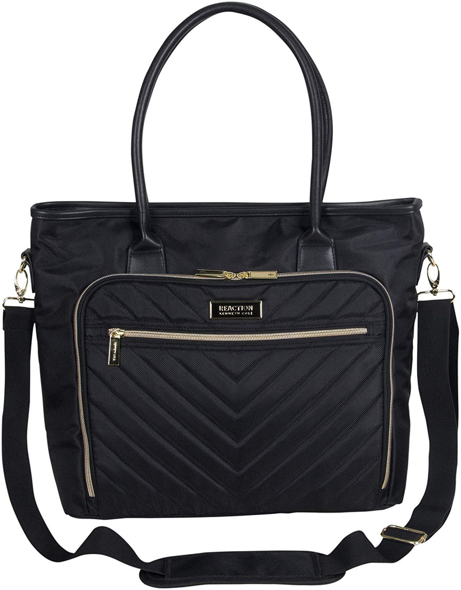 "Kenneth Cole Reaction Women's Chelsea Chevron Quilted 15"" Laptop & Tablet Travel Tote Bag With Removeable Shoulder Strap - Zebrant"