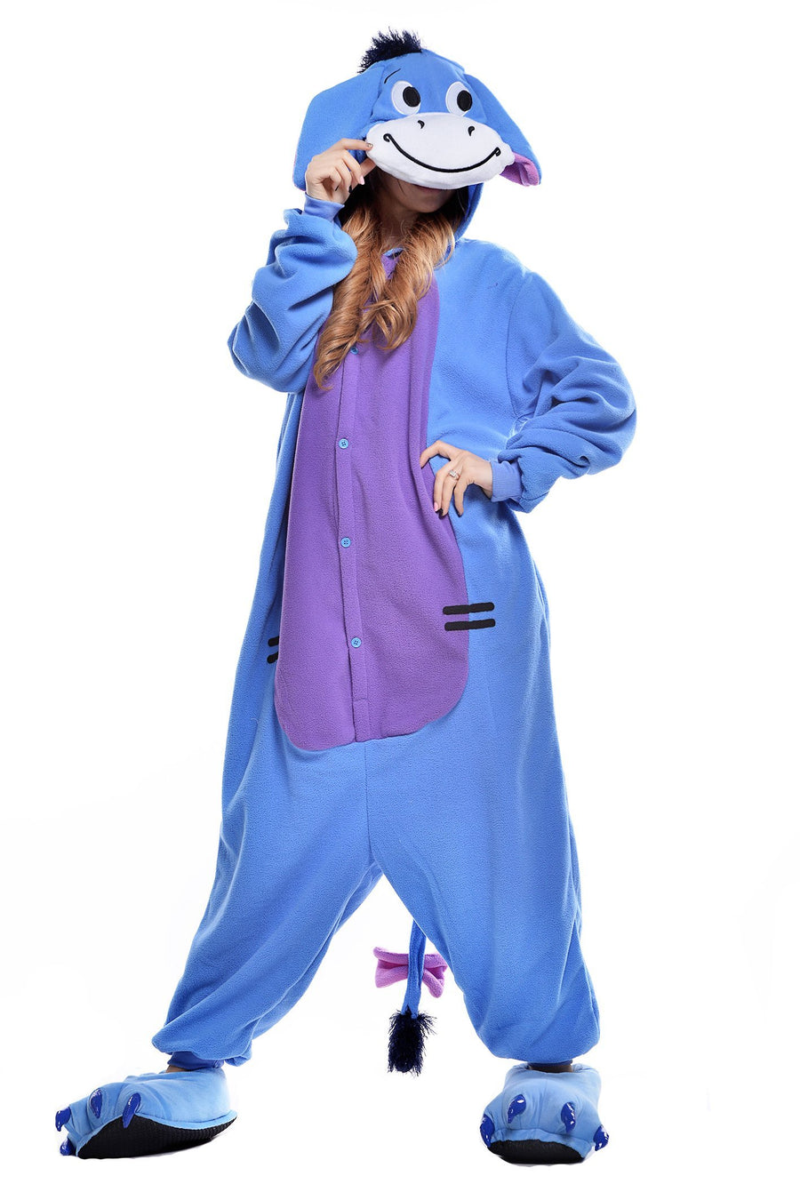 Adults' Donkey Kigurumi Pajamas  Onesie Pajamas Polar Fleece Blue Cosplay - Zebrant
