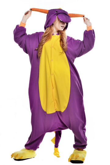 Kigurumi Pajamas Dragon Dinosaur Onesie Pajamas Coral fleece Purple Cosplay