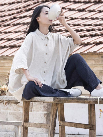 Cotton Collar Neck Loose Style Top, Two Colors