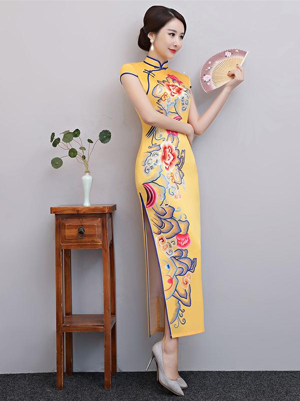 Yellow Floral Split-side Long Cheongsam - Zebrant