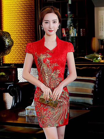 Red Embroidered V-neck Side Split Short Cheongsam - Zebrant