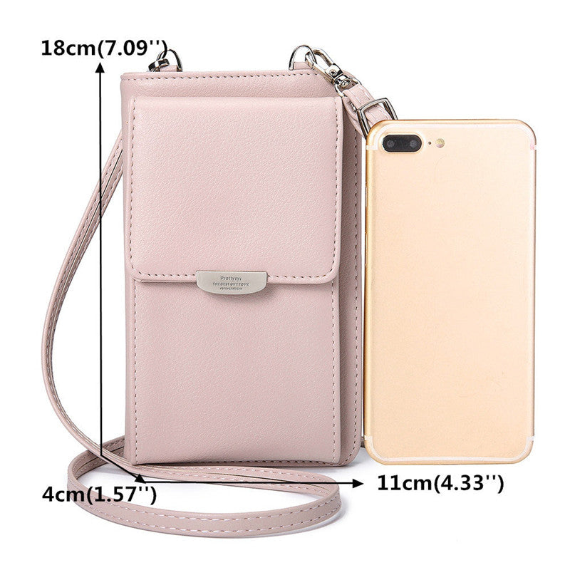 Leisure Phone Purse Multi-function Solid PU Leather Crossbody Bag - Zebrant