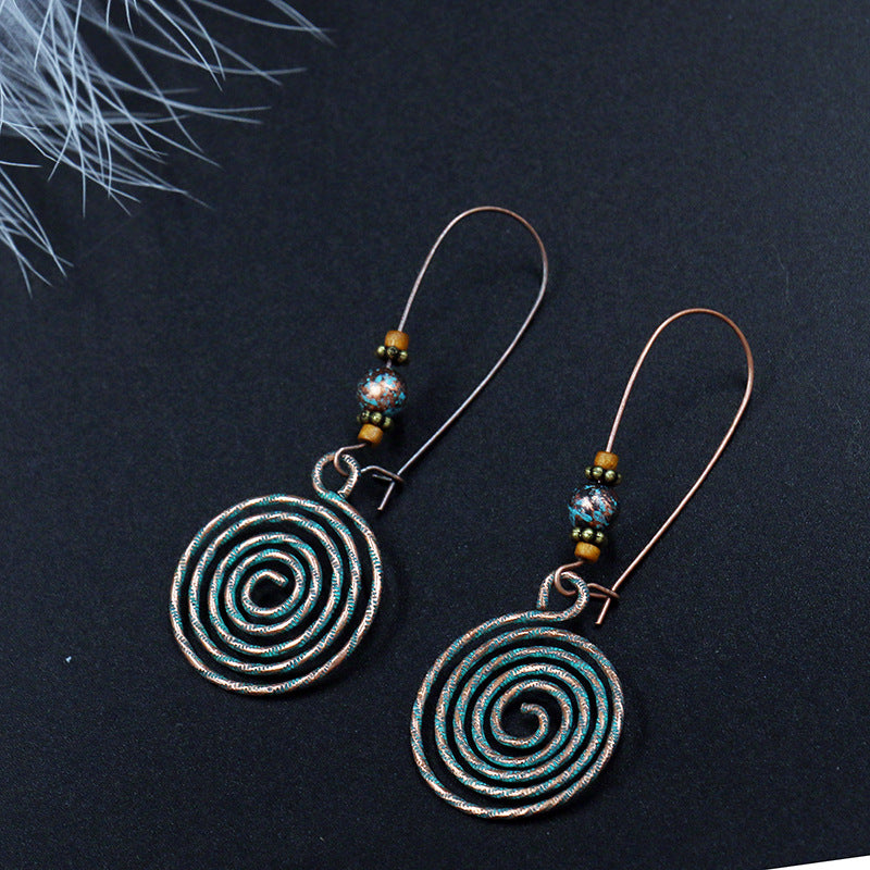 Fashion retro creative disc hollow alloy big earrings - Zebrant