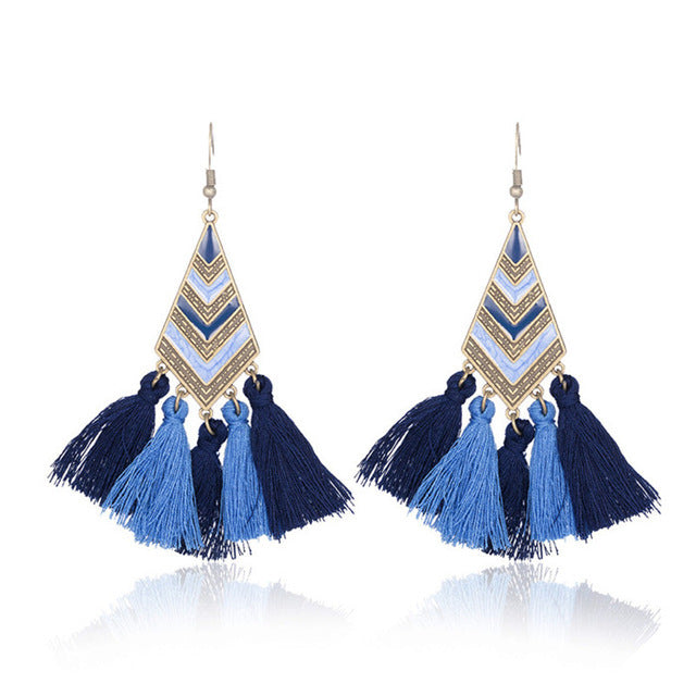 5 Color Diamond earrings tassel earrings - Zebrant