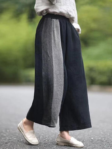 Loose Split-joint Elastic Waist Pants