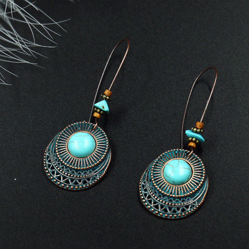 Fashion round alloy female creative hook turquoise earrings - Zebrant