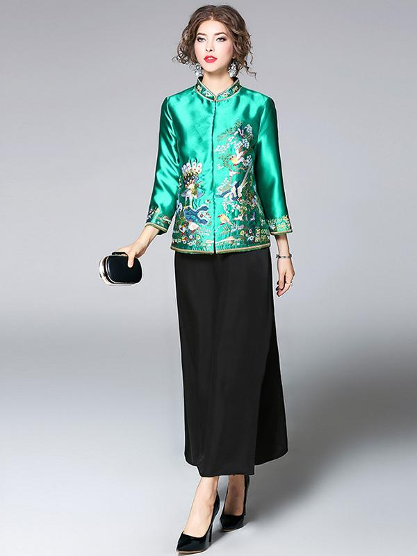 Green Embroidered Cheongsam Tops Outwears