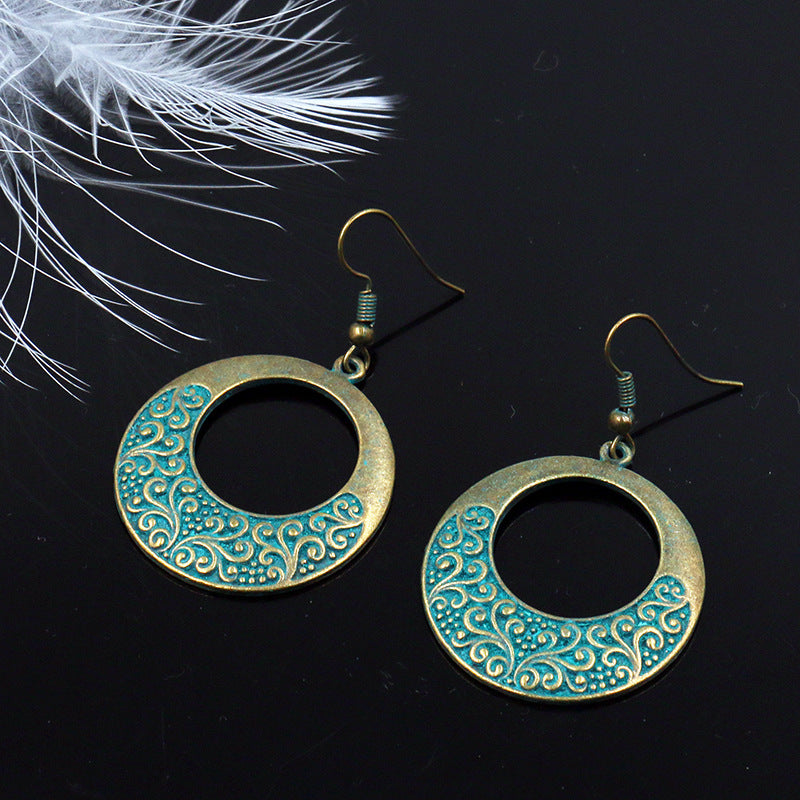 2 COLOR Fashion retro circle alloy earrings - Zebrant
