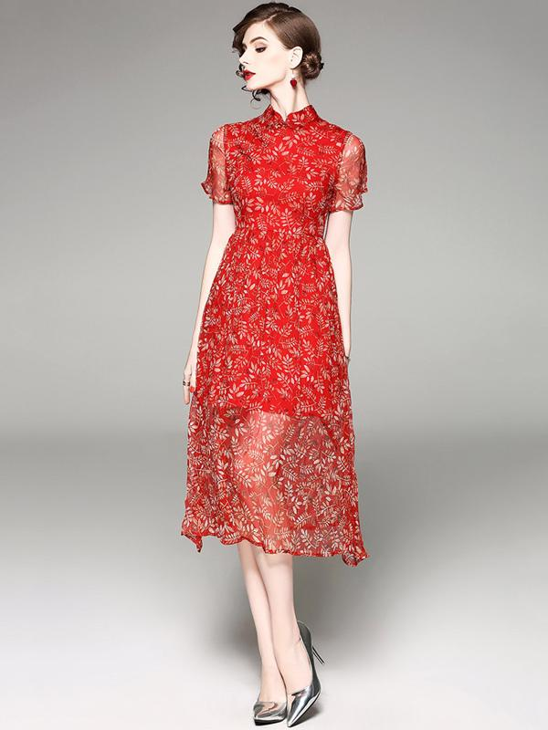 Woman Oriental Red Floral Transparent Dress with Short Sleeves
