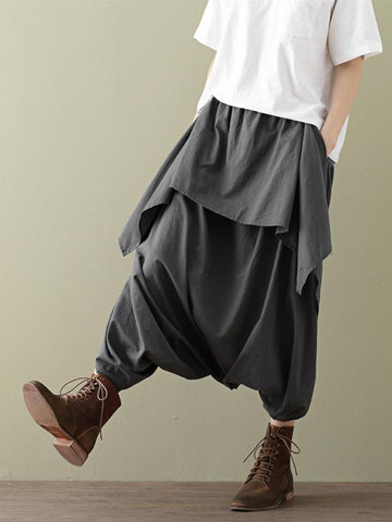 Loose Cropped Ramie Cotton Culottes Casual Pants - Zebrant