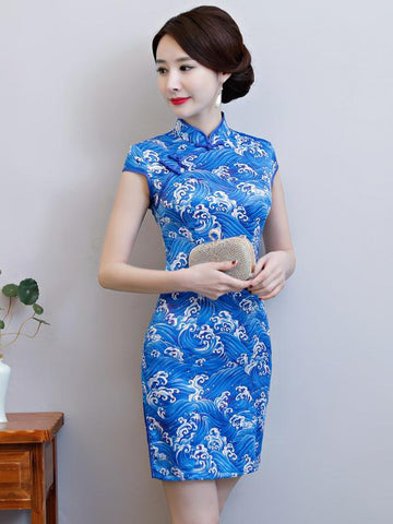 National Beauty  Tie-Dyed Stand Collar Short Cheongsam - Zebrant