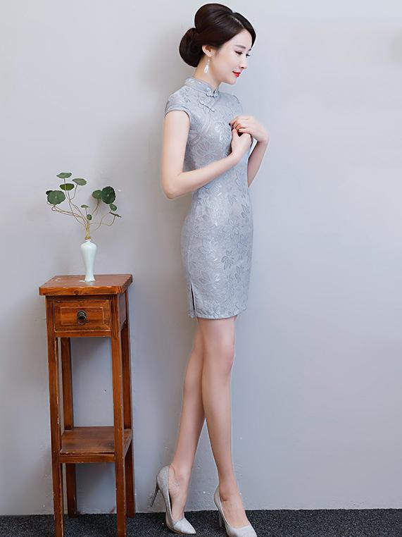 Gray Lace Split-side Short Cheongsam - Zebrant