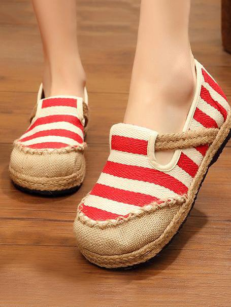 Authentic Oriental Style Striped Cotton Shoes, Four Colors