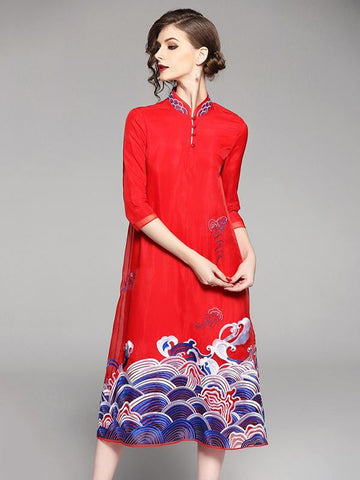 Long Original Dress in Red Color with Sea Print - Zebrant