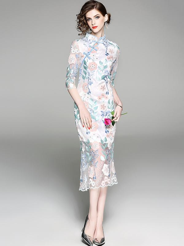 Floral Dacron Chinese Style Long Dress - Zebrant
