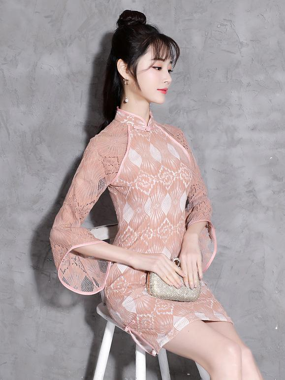 Lace Pink Flared Sleeves Short Cheongsam - Zebrant