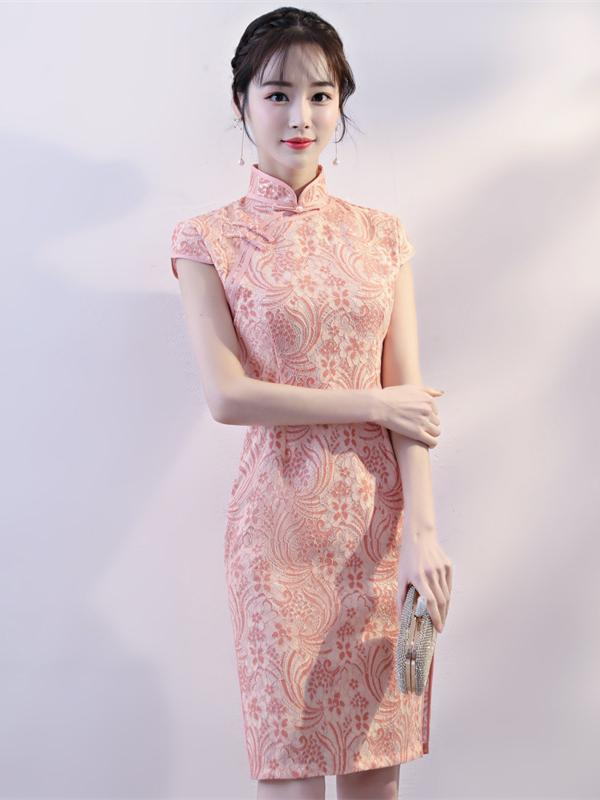 Pink Lace Stand-collar Split-side Short Cheongsam - Zebrant