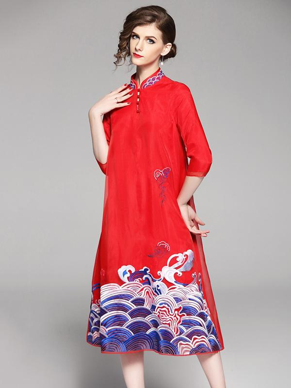 Long Original Dress in Red Color with Sea Print