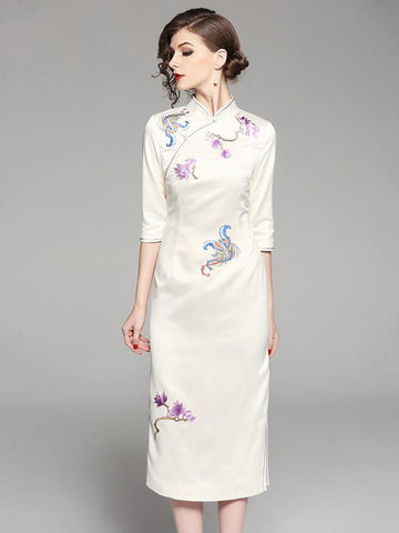 Long Chinese Traditional Authentic Dress in Apricot Color and Floral Print - Zebrant