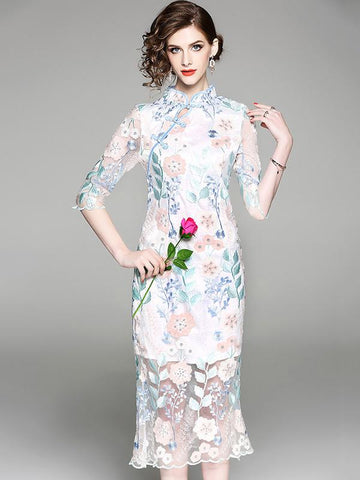 Floral Dacron Chinese Style Long Dress