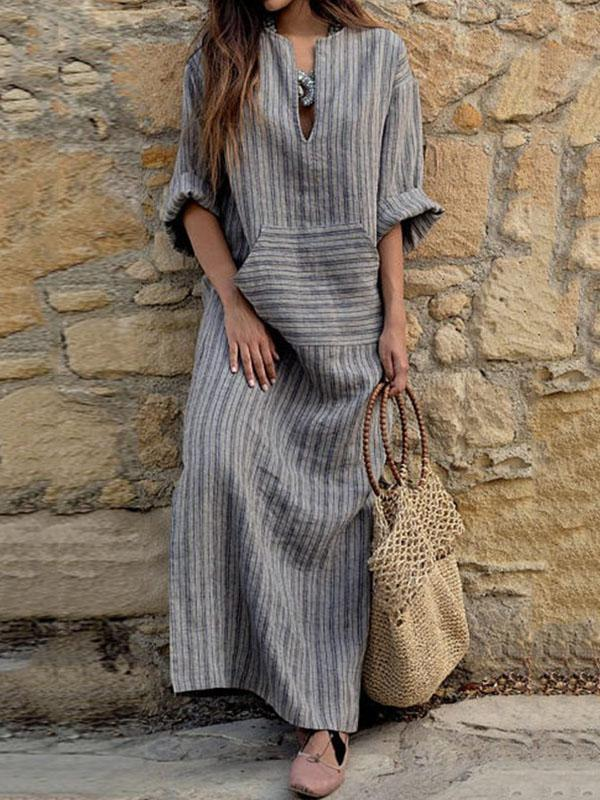 Grey Cotton Long Striped Dress with Rolled Up Sleeves - Zebrant