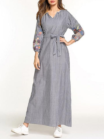 Stylish Long Dress with Belt and Floral Print on Sleeves - Zebrant