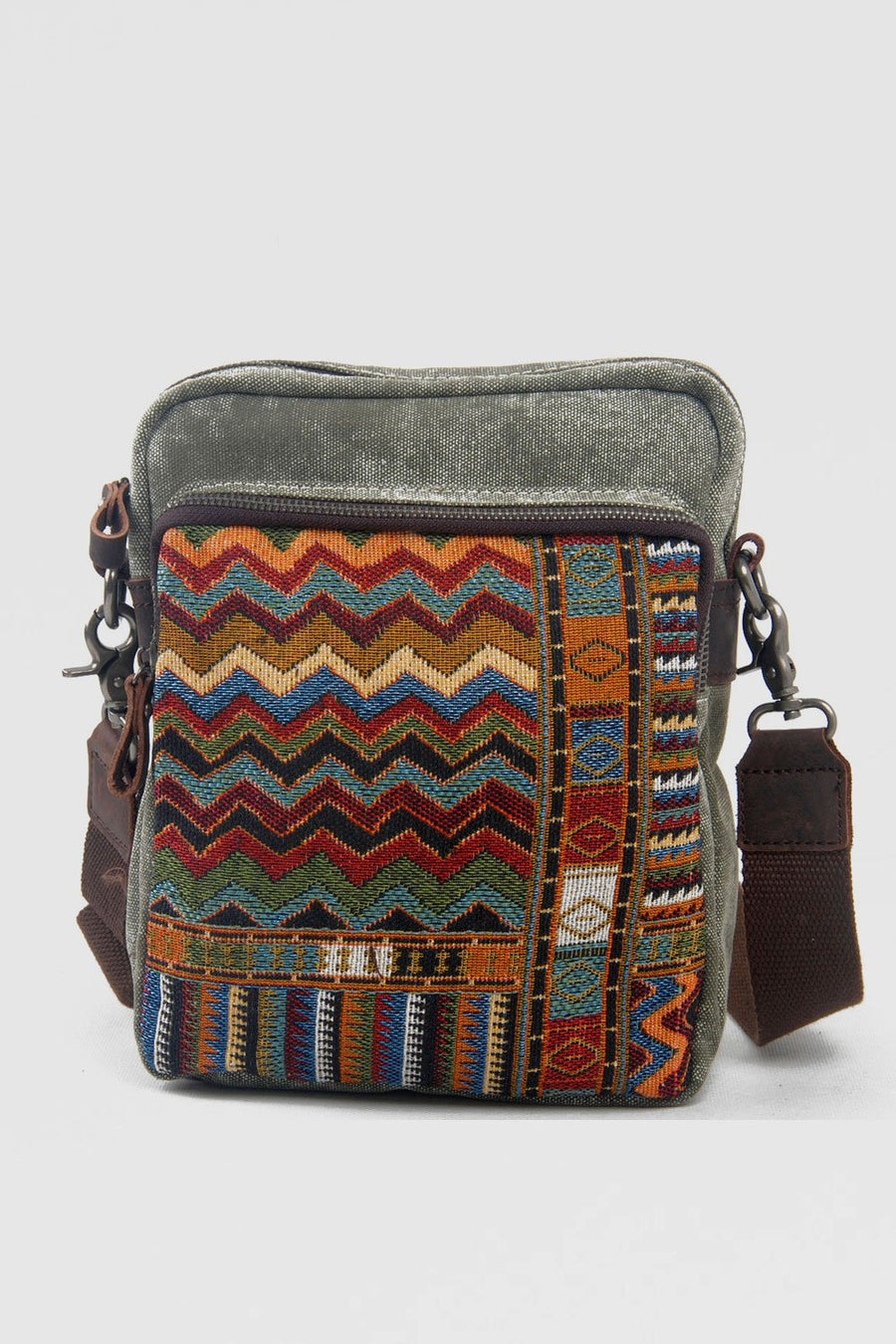 Ethnic embroidered Canvas Crossbody Bag - Zebrant