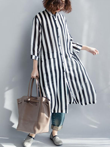 Long Sleeve Casual Dress in Black and White Stripes - Zebrant