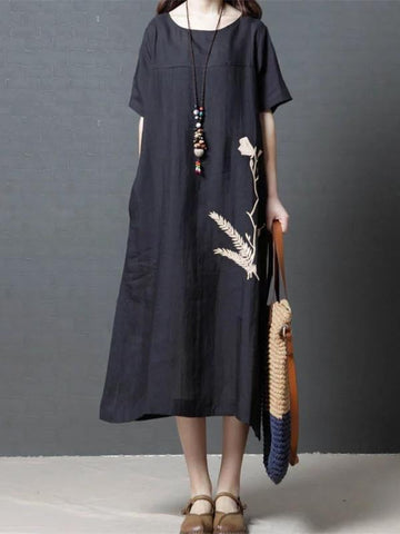 Daily Cotton Long Dress in Black or Green Color