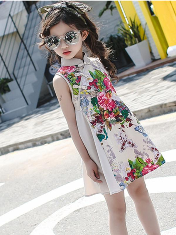 Floral Printed Sleeveless Kids Cheongsam