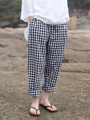 Loose Comfortable Plaid Pants - Zebrant