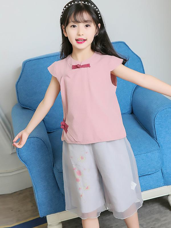 Casual Chinese Style Cotton Little Girl Suit Pants and T-shirt