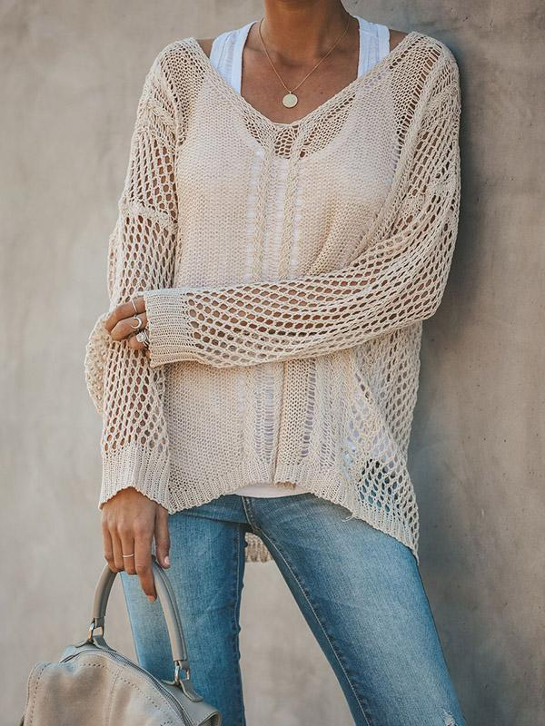 Hollow Solid Color V-neck Knitting Sweater Tops - Zebrant