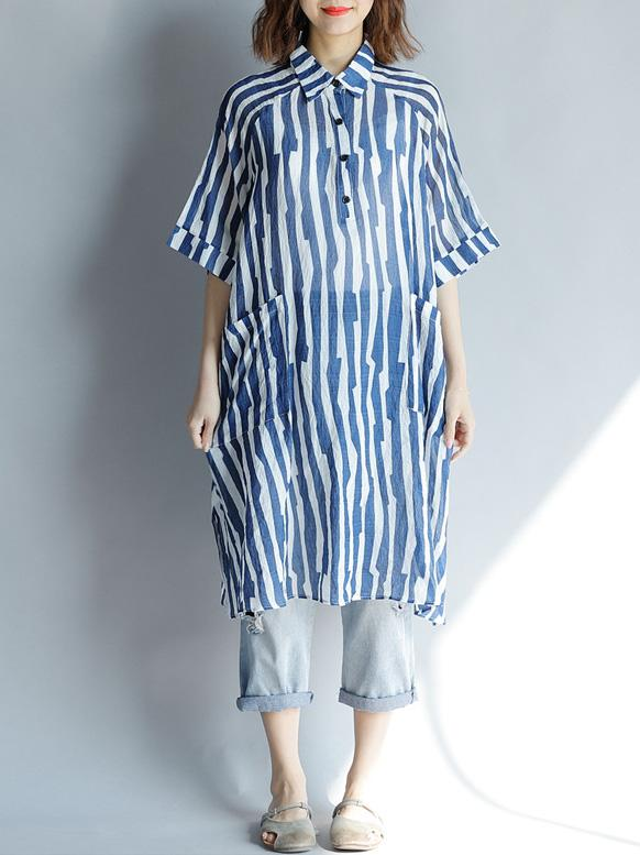 Comfortable Blue Stripe Split-side Blouses Shirt
