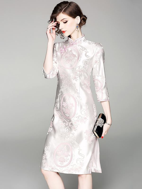 Casual Traditional Chinese Dress in Pink Color - Zebrant