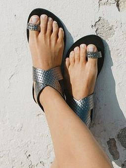 Casual Fashion Sandals Shoes in Silver or Gold Color - Zebrant