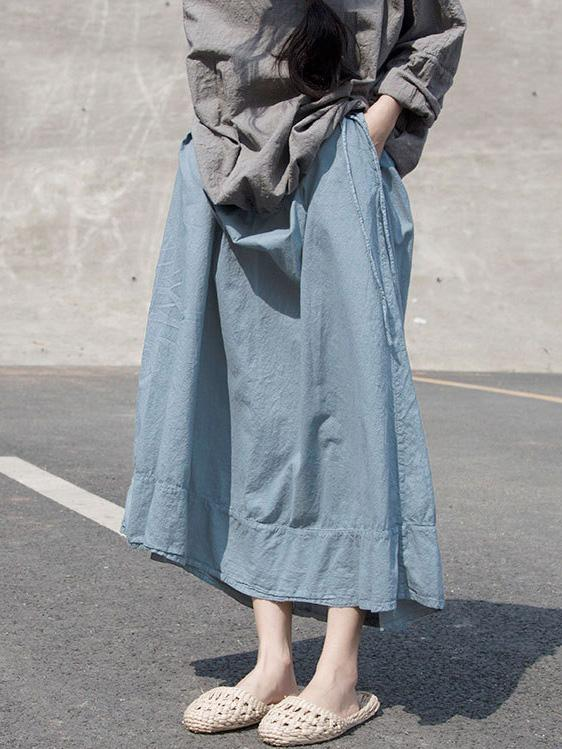 Light Blue Falbala Ramie Cotton Skirts - Zebrant