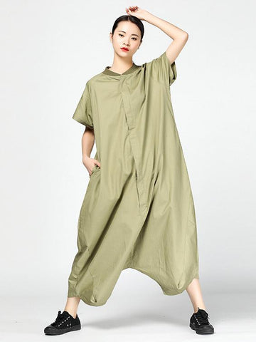 Casual Broaden Loosen Jumpsuit in Black or Green Color - Zebrant