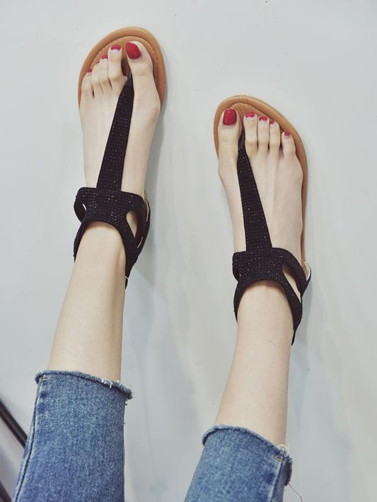 Casual Solid Color Flat Sandals Shoes