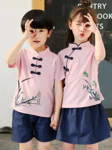 Traditional Boy and Girl Tang Suits Combo in White or Pink Color - Zebrant
