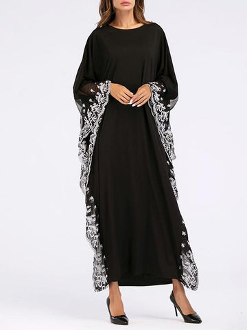 Long Classical Style Semi-Transparent Dress in Black Color - Zebrant