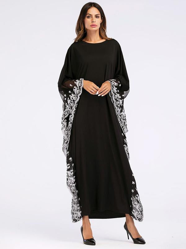 Long Classical Style Semi-Transparent Dress in Black Color