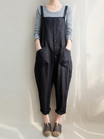 Cotton Casual Woman Jumpsuit in Black or Coffee Color - Zebrant