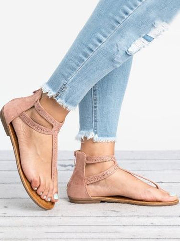 Casual Solid Color Flat Sandals Shoes - Zebrant