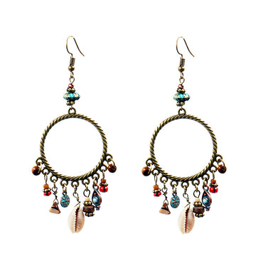 Fringed retro big circle ring shell flower turquoise Earrings Wholesale