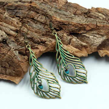 angel wings retro love Creative hollowed out leaves alloy earrings - Zebrant
